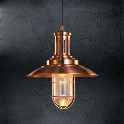 Copper Finished 1 Light Indoor Nautical LED Pendant Light 12u0027u0027 Wide