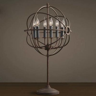 Unique Designed Antique Copper 6 Light Globe Shade Accent LED Floor Lamp