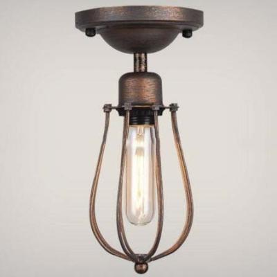 Mini hallway led semi flush ceiling light in antique copper finish aloadofball Gallery