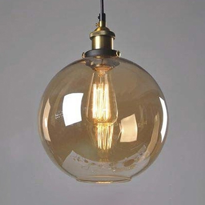 Amber Glass Globe Pendant Light In Aged Brass Vintage