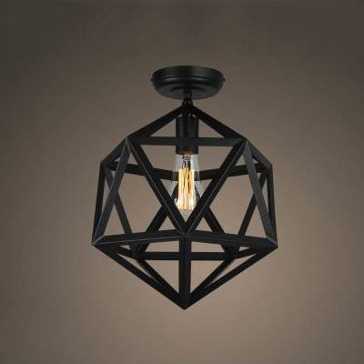 industrial style diamond shape 1 light 14 wide led semi flush