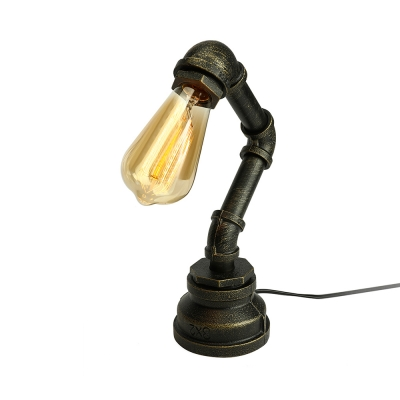 Simple 1 Light Pipe LED Desk Lamp in Antique Iron Finish