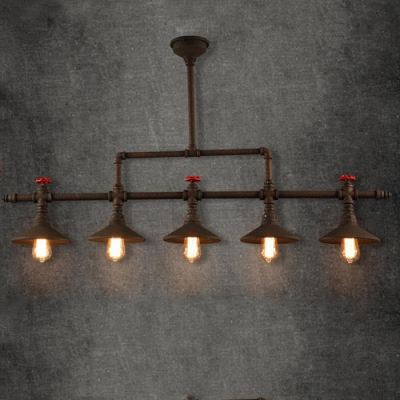 5 Light Large Pipe LED Linear Chandelier