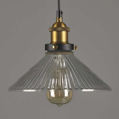 10''  Wide Single Light Ribbed Glass Mini Indoor LED Pendant Lighting