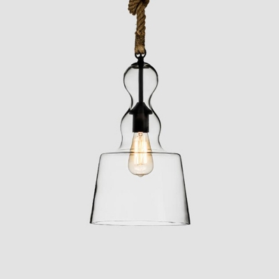 clear glass mini pendant light restaurant lighting fixture with rope accent