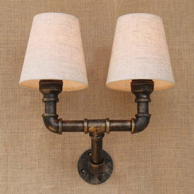 Inddor 2 Light Wall Lamp with Natural Fabric Shade in Antique Bronze ...