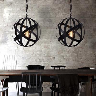 Retro Style 1 Light Wrought Iron 16'' Wide Globe LED Pendant in Black