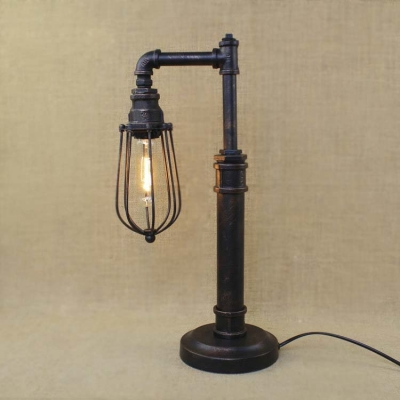 Vintage 1 Light Style Pipe Led Table Lamp With Metal Cage