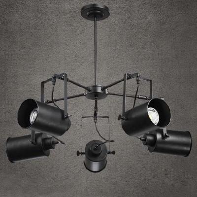 Black finish five light industrial spotlight led chandelier 35 black finish five light industrial spotlight led chandelier 35 wide mozeypictures Choice Image
