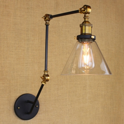 Industrial Chic Wall Sconces : Industrial Style Adjustable Wall Sconce with Clear Cone Shade in Black Finish - Beautifulhalo.com
