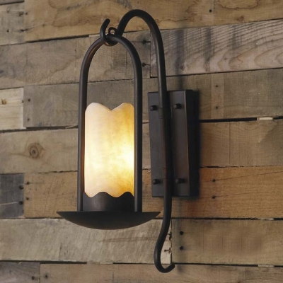 Traditional Country Style 20'' H 1 Light LED Wall Sconce with Cylindrical Alabaster Shade