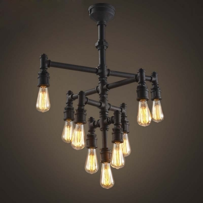 industrial pipe lighting. Exellent Pipe Vintage Industrial Style 26u0027u0027 Wide 9 Light Pipe LED Chandelier In Rust  With Lighting I