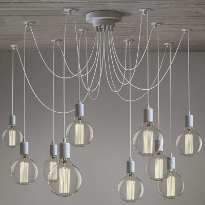 pendant lighting industrial style. gracefully white 10 light industrial style multi pendant swag lighting o