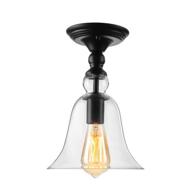 11 Height Single Light Clear Bell Shade Small Semi Flush Mount