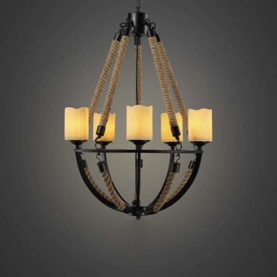 5 Light Rope LED Chandelier in Black Finish with Cylinder Shade 20'' Wide