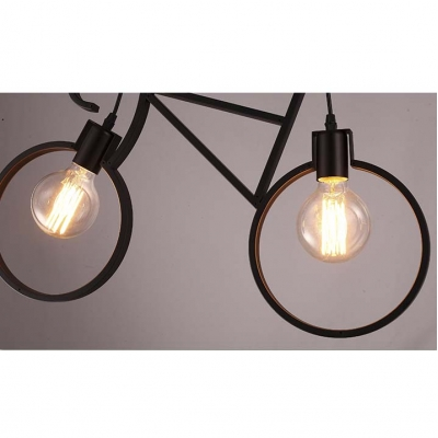 24'' W Industrial Style Wrought Iron Bicycle Shape Living Room Indoor LED Pendant Lighting with 2 Light