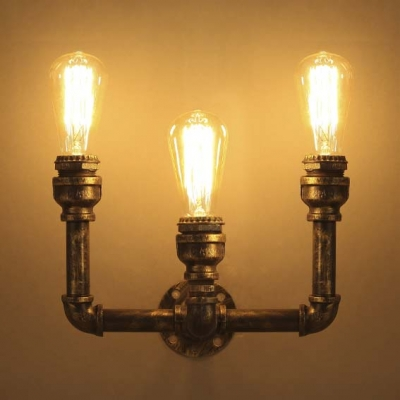 8\'\' H Antique Bronze 3 Light Pipe LED Wall Sconce Indoor Wall ...