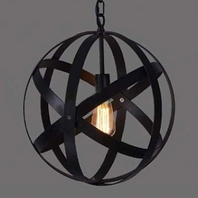 Fashion style pendant lights globe industrial lighting retro style 1 light wrought iron 16 wide globe led pendant aloadofball Choice Image