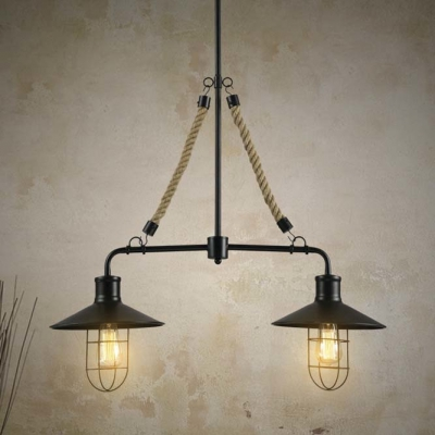 Black Finished Double Headed 1 Tier Island Pool Table Billiard LED Pendant Light with Rope Accent