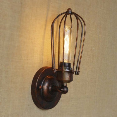 Industrial Style 1 Light Small LED Wall Sconce in Antique Copper Finish