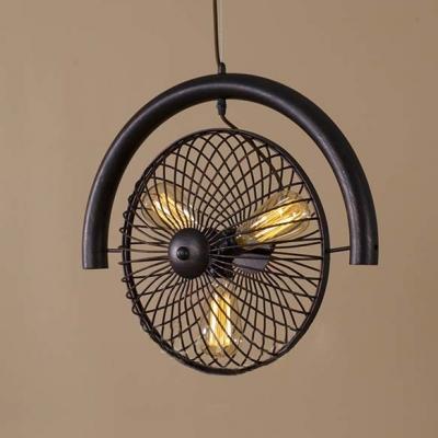 Mottled Black Three Light LED Hanging Pendant With Metal
