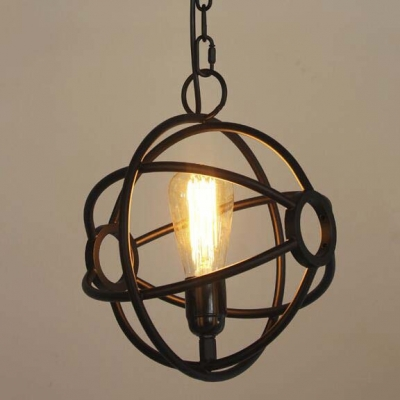 10'' Wide Small Black Globe LED Pendant in Industrial Style