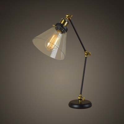 Adorable Single Light Led Table Lamp With Glass Shade In Industrial