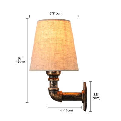 Industrial Style Pipe LED Wall Lamp with Empire Fabric Shade