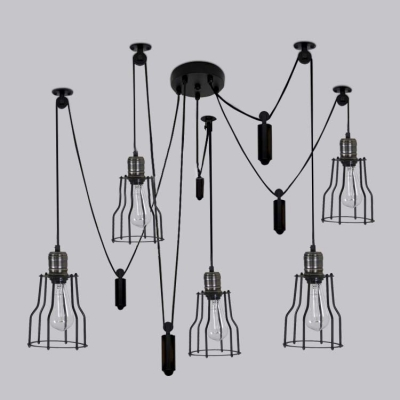 Black Finished 5 Light LED Multi Light Pendant Swag Pendant with Wire Guard