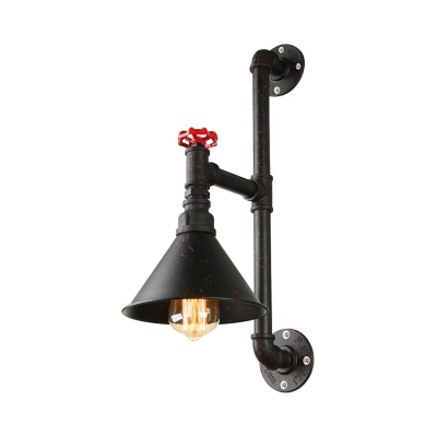 Industrial Pipe LED Wall Sconce With Cone Shade