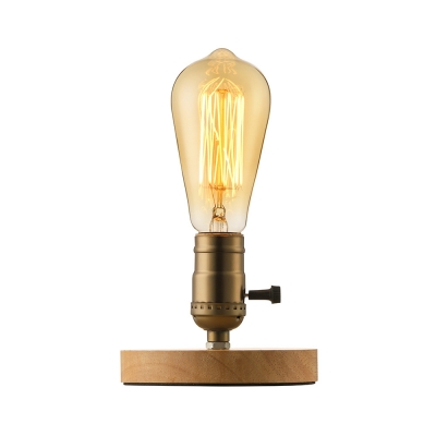 - Real Simple Industrial Style 1 Light Wood Barn LED Table Lamp