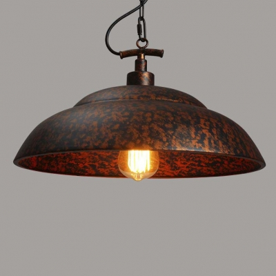 Vintage Copper Finished Bowl Shaped Industrial Style Single Light ...
