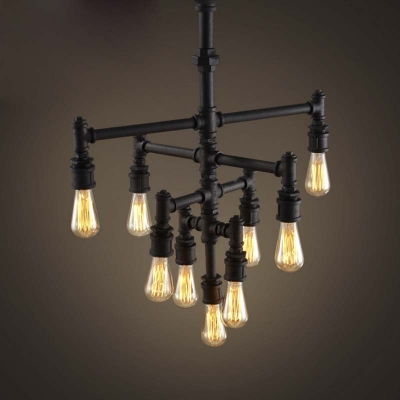 Vintage Industrial Style 26'' Wide 9 Light Pipe LED Chandelier in Rust