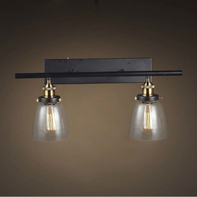 24 Wide 2 Light Industrial Clear Glass Wall Light with Bowl Shade - Beautifulhalo.com