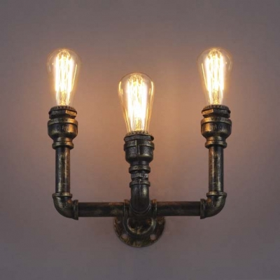 8 h antique bronze 3 light pipe led wall sconce indoor wall 8 h antique bronze 3 light pipe led wall sconce indoor wall lighting aloadofball Image collections