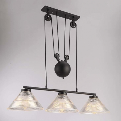 Chic Industrial Style Three Light Adjustable LED Island Light with Cone Ribbed Glass Shade
