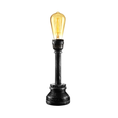 Industrial Style 15'' H Single Light Plumbing Pipe LED Table Lamp in Antique Bronze Finish