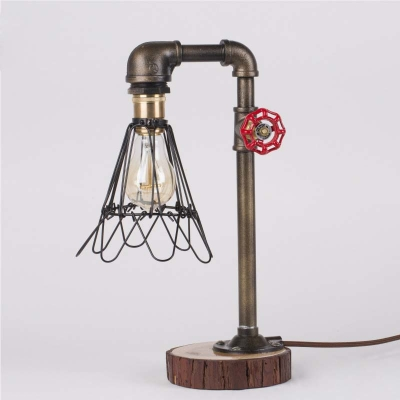 Industrial Style Single Light Down Light Pipe Table Lamp with Wire Cage - Fashion Style Table Lamps Industrial Lighting - Beautifulhalo.com