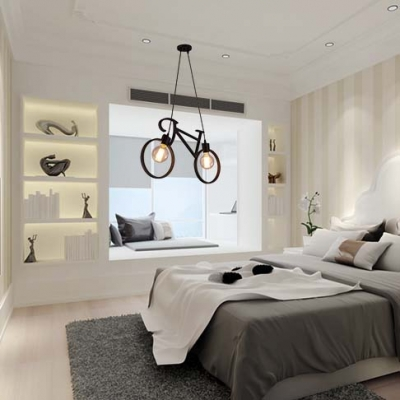 24 w industrial style wrought iron bicycle shape living room indoor led pendant lighting - Living Room Pendant