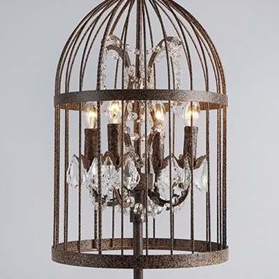 Rust Iron 4 Light Bird Cage LED Table Lamp with Crystals