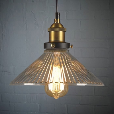 10''  Wide Single Light Ribbed Glass Mini Indoor Pendant Lighting
