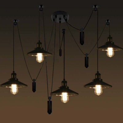 Five Light Swag Multi Light LED Pendant with Mirrored Shade