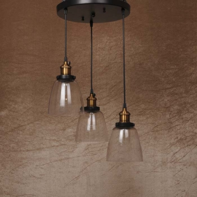 Industrial Style 3 Light LED Multi Light Pendant with Clear Glass Bowl Shade