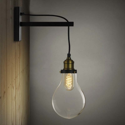 Simple Edison Bulb Style 1 Light Indoor Hallway Wall Sconce in Black - Beautifulhalo.com