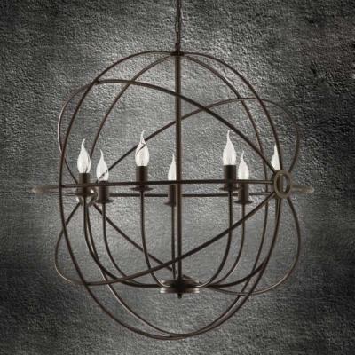Industrial LED Orb Chandelier in Black Finish,20'' Wide, 7 Light