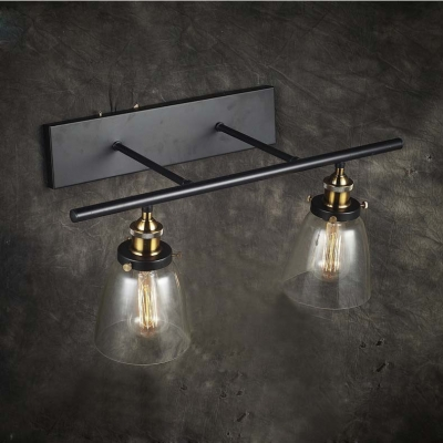 Glass Bowl Wall Lights : 24 Wide 2 Light Industrial Clear Glass Wall Light with Bowl Shade - Beautifulhalo.com