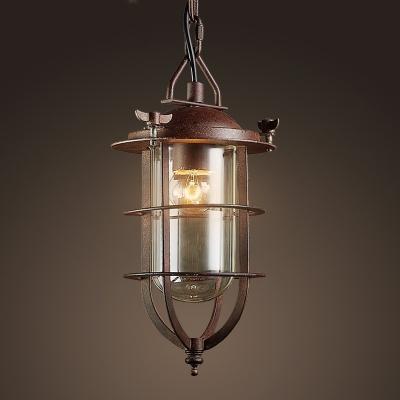 Nautical Style 1 Light LED Mini Pendant Light in Antique Copper Finish
