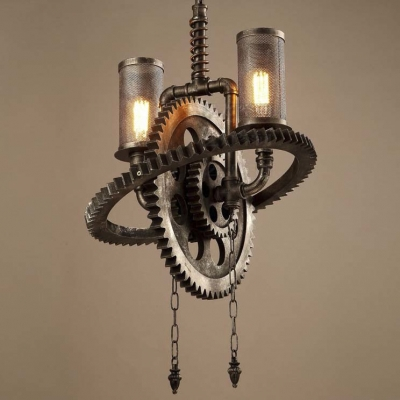 Old Iron Double Light Gear Shaped Indoor Commercial Led