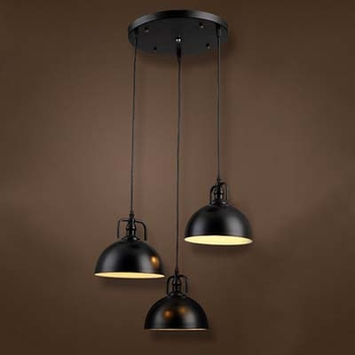 Three Light Bowl Shade LED Multi Light Pendant in Black Industrial Style & Three Light Bowl Shade LED Multi Light Pendant in Black Industrial ...