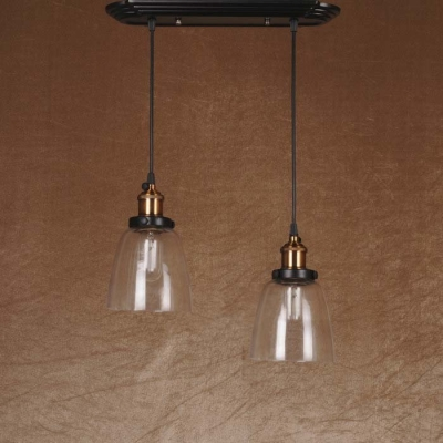 Simple Industrial Style 2 Light Hanging LED Multi Light Glass Pendant Light